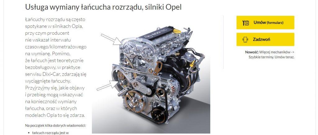 Usługa wymiany łańcucha rozrządu, silniki Opel