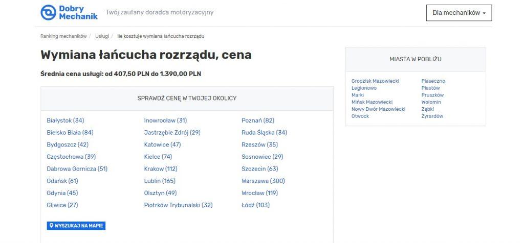 Wymiana łańcucha rozrządu, cena Warszawa