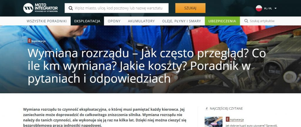 Wymiana rozrządu – Jak często przegląd, Co ile km wymiana Warszawa