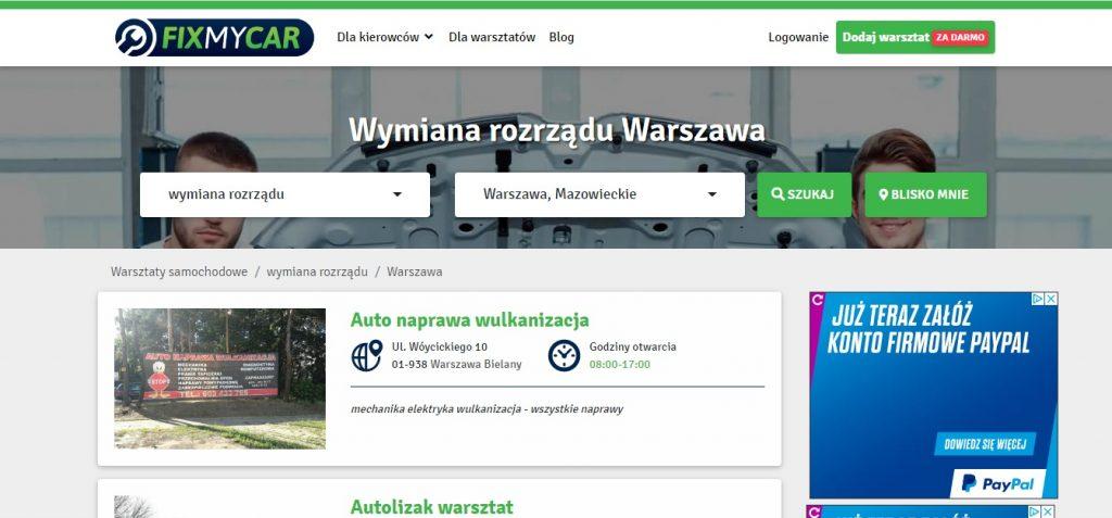 Wymiana rozrządu Warszawa z FixMyCar