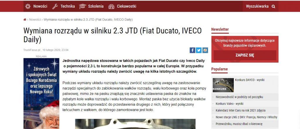 Wymiana rozrządu w silniku 2.3 JTD (Fiat Ducato, IVECO Daily)
